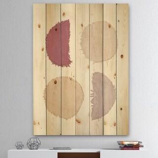 Designart 'Unique Beige Circle Designs II' Modern Transitional Print on Natural Pine Wood - Multi-color