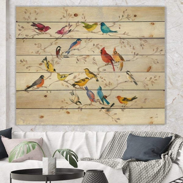 Designart 'Multi-Color Bird on Tree' Modern Farmhouse Print on Natural Pine Wood - Multi-color