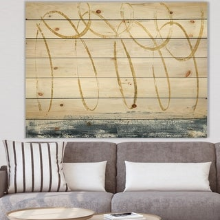 Designart 'Gold Abstract Geometric Shape' Modern Transitional Print on Natural Pine Wood - Grey