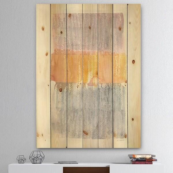 Designart 'Modern Abstract Drive' Cottage Print on Natural Pine Wood - Grey/Orange