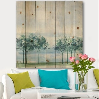 Designart 'Tree Across the Lake' Traditional Print on Natural Pine Wood - Blue/Green