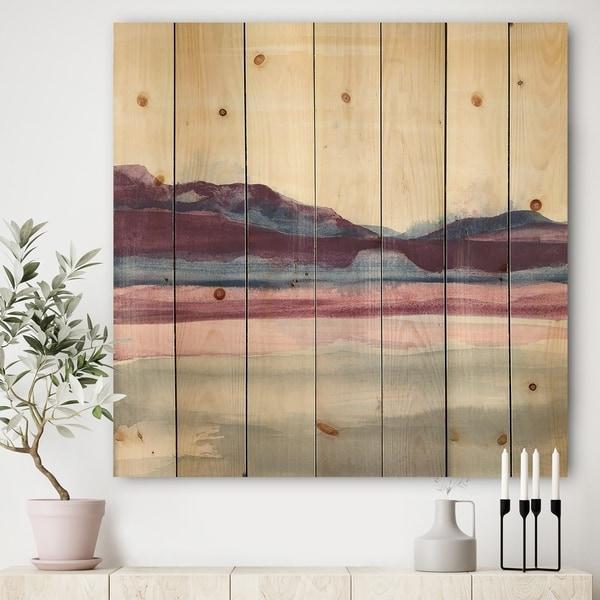 Designart 'Purple Rock landscape' Shabby Chic Print on Natural Pine Wood - Grey/Blue