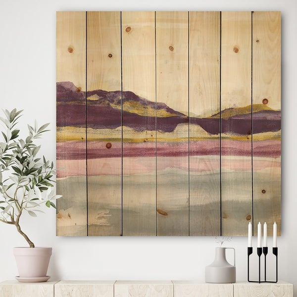 Excellent Designart Painted Purple And Gold Landscape Ii Shabby Chic Print On Natural Pine Wood Multi Color Interior Design Ideas Lukepblogthenellocom