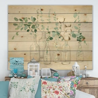 Designart 'Beautiful Flower Composition' Cottage Print on Natural Pine Wood - Grey/Green
