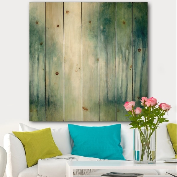 Designart 'Walk in the Forest' Traditional Landscape Print on Natural Pine Wood - Green