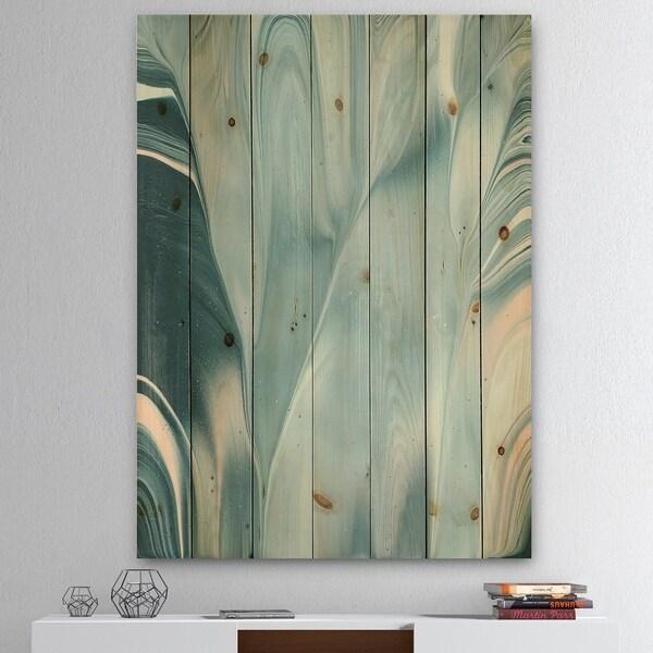 Designart 'Blue Modern Water I' Modern Transitional Print on Natural Pine Wood - Blue