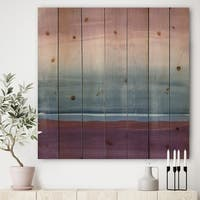 Designart 'Purple Rock landscape III' Shabby Chic Print on Natural Pine Wood - Multi-color