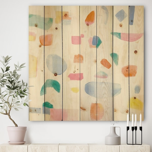Designart 'Joy Geometric Simple' Mid-Century Modern Print on Natural Pine Wood - Multi-color