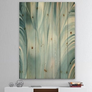 Designart 'Blue Modern Water III' Modern Transitional Print on Natural Pine Wood - Blue