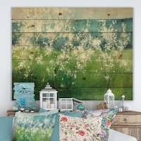 Designart 'Green Mountain Spring' Cottage Print on Natural Pine Wood - Blue/Green