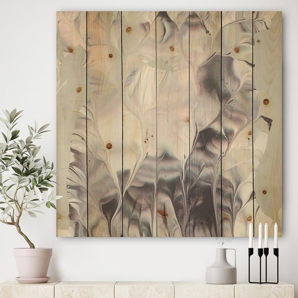 Designart 'Light and Shadow I' Modern Farmhouse Print on Natural Pine Wood - Grey/Pink