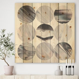 Designart 'Circle Marble III' Modern Geometric Print on Natural Pine Wood - Multi-color