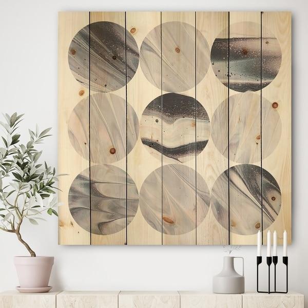 Designart 'Circle Marble III' Modern Geometric Print on Natural Pine Wood - Multi-color