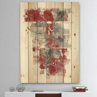 Designart 'Moving In and Out of Traffic I Red Grey' Geometric Print on Natural Pine Wood - Grey
