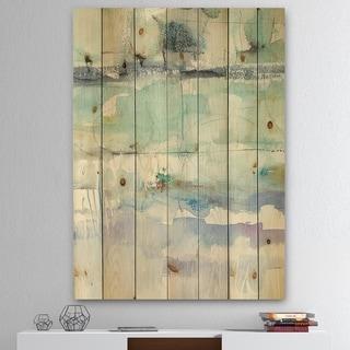 Designart 'Blue Abstract Panel II' Geometric Print on Natural Pine Wood - Grey/Blue