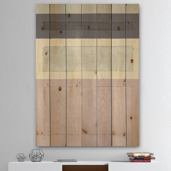 Designart 'Painted Weaving IV FB' Modern & Contemporary Print on Natural Pine Wood - Grey/Pink