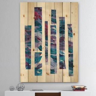 Designart 'Ribbons of Jewels I' Modern Geometric Print on Natural Pine Wood - Multi-color