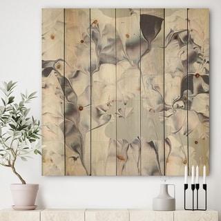 Designart 'Light and Shadow III' Modern Farmhouse Print on Natural Pine Wood - Grey/Pink