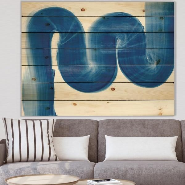 Designart 'Blue Geometric S Curve' Modern Transitional Print on Natural Pine Wood - Blue