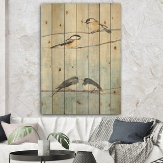 Designart 'Bird Hanging on Tree I' Modern Farmhouse Print on Natural Pine Wood - Multi-color