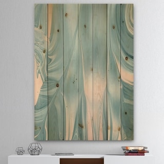 Designart 'Abstract Water I' Modern Transitional Print on Natural Pine Wood - Blue/Pink