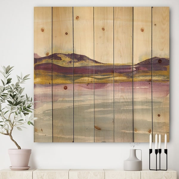 Designart 'Painted Purple and Gold Landscape II' Shabby Chic Print on Natural Pine Wood - Multi-color