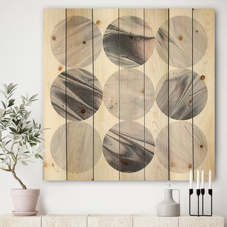 Designart 'Circle Marble IV' Modern Geometric Print on Natural Pine Wood - Multi-color