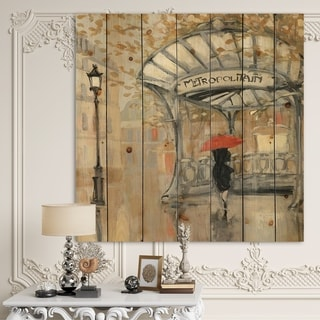 Designart 'Love in Paris IV' Romantic French Country Print on Natural Pine Wood - Black