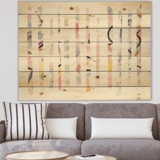 Designart 'Multi-Color Geometric Bars' Modern Transitional Print on Natural Pine Wood - Multi-color