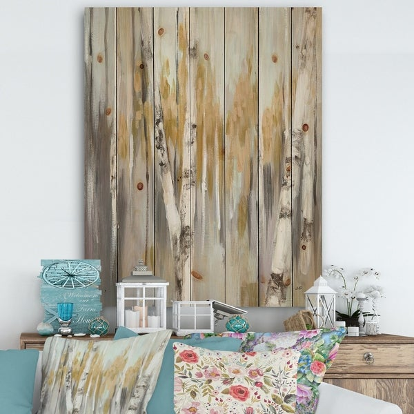 Designart 'Silver and Yellow Birch Forest' Cottage Print on Natural Pine Wood - Grey
