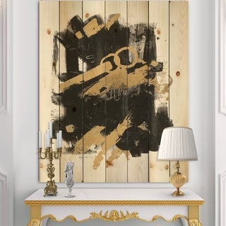Designart 'Gold and Black drift I' Modern Glam Print on Natural Pine Wood