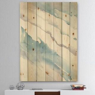 Designart 'Modern Abstract Drift' Cottage Print on Natural Pine Wood - Grey/Blue
