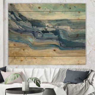 Designart 'Coast Blue Sea Waves Watercolour' Modern Farmhouse Print on Natural Pine Wood