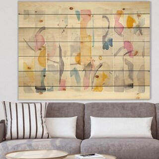 Designart 'Multi-Color Geometric Bars II' Modern & Contemporary Print on Natural Pine Wood - Multi-color
