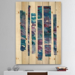 Designart 'Ribbons of Jewels II' Modern Geometric Print on Natural Pine Wood - Multi-color