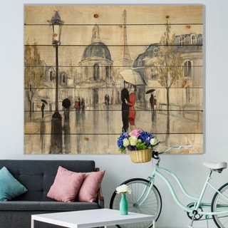 Designart 'Love in Paris I' Romantic French Country Print on Natural Pine Wood - Multi-color