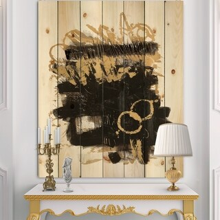Designart 'Gold and Black drift II' Glam Modern Print on Natural Pine Wood