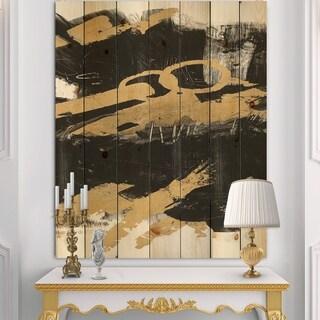 Designart 'Gold and Black drift IV' Glam Print on Natural Pine Wood