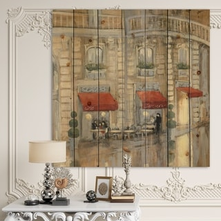 Designart 'Love in Paris II' Romantic French Country Print on Natural Pine Wood - Brown