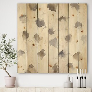 Designart 'Brown Nougat' Geometric Print on Natural Pine Wood - Grey/Brown