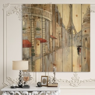 Designart 'Love in Paris III' Romantic French Country Print on Natural Pine Wood - Brown