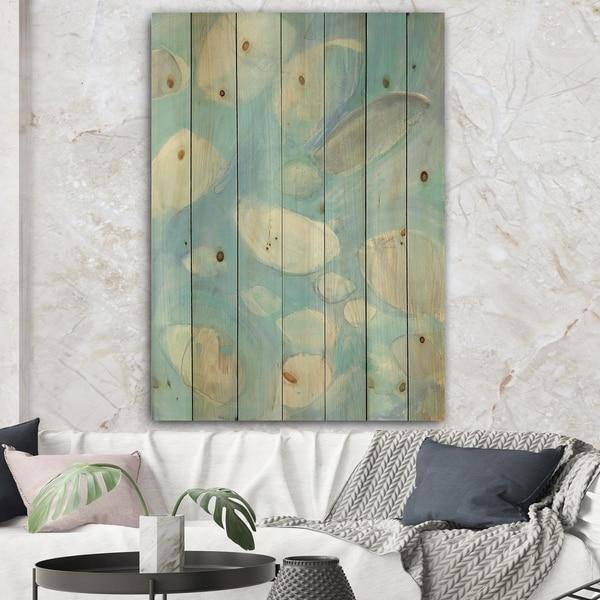 Designart 'Running Water III' Traditional Print on Natural Pine Wood - Blue