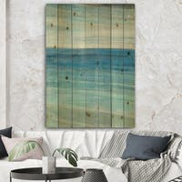 Designart 'From the Shore III' Nautical & Beach Print on Natural Pine Wood - Blue