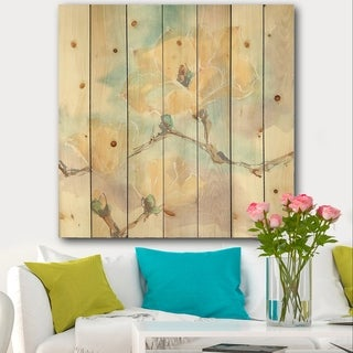 Designart 'Magnolias in White I' Cabin & Lodge Print on Natural Pine Wood - Blue