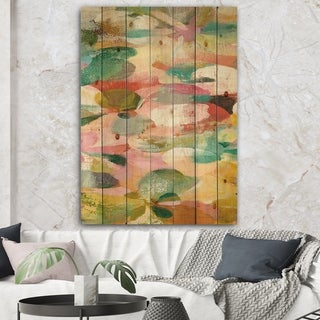 Designart 'Abstract Pastel Flower Painting with Pink and Blue' Cabin & Lodge Print on Natural Pine Wood - Multi-color