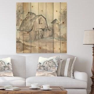 Designart 'Farmhouse Barn Grey V' Modern Farmhouse Print on Natural Pine Wood