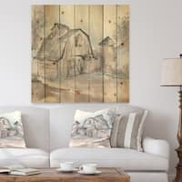 Designart 'Farmhouse Barn Grey V' Modern Farmhouse Print on Natural Pine Wood