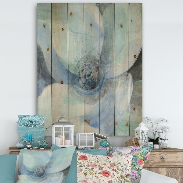 Designart 'Watercolor Moonlight Magnolia II' Farmhouse Print on Natural Pine Wood - Blue