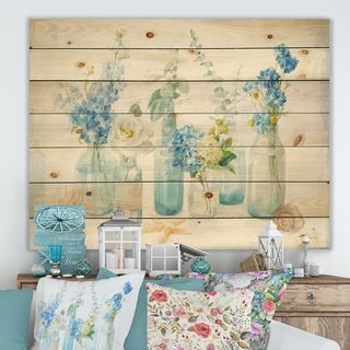 Designart 'Cottage Florals I' Farmhouse Print on Natural Pine Wood - Blue