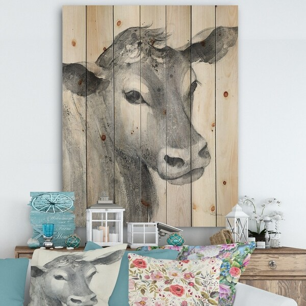 Designart 'Cow Farmhouse Animal in Black and White' Farmhouse Animals Print on Natural Pine Wood - Grey